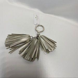 NWT Kate Spade Silver Leather Tassel Keychain